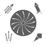 Firework celebration explosion icon. Vector graphic. Firework seal stamp circle celebration explosion icon. Isolated and silhouette illustration. Black and White Royalty Free Stock Photo