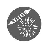 Firework celebration explosion icon. Vector graphic. Firework seal stamp circle celebration explosion icon. Isolated and silhouette illustration. Black and White Stock Photo