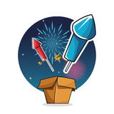 Firework celebration explosion night icon.  Vector graphic Royalty Free Stock Photography