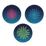 Firework celebration explosion night icon.  Vector graphic. Firework circle celebration explosion night icon. Colorfull and flat illustration. Vector graphic Royalty Free Stock Photos
