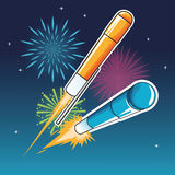 Firework celebration explosion night icon.  Vector graphic. Firework celebration explosion icon. Colorfull and night background Vector graphic Stock Images