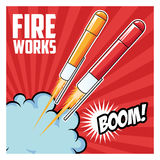 Firework celebration explosion night icon.  Vector graphic. Firework celebration explosion night icon. Colorfull illustration red striped background. Vector Stock Photo