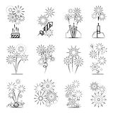 Firework celebration icon set. Firework icons set. Black line celebration fireworks icons on white background. Vector illustration Stock Images