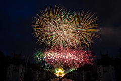 Firework Celebration. Picture of Firework celebration in Chiangmai, Thailand royalty free stock photos
