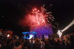 Firework celebrations. Israel's 62nd Independence day celebrations in Tel Aviv stock photos