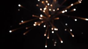 Firework. Celebratory bright firework in a night sky. Fireworks in the night sky of Moscow colorful. Firework. Celebratory bright firework in a night sky Royalty Free Stock Image
