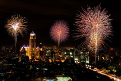 Firework in central of bangkok city Stock Images