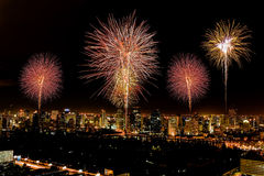 Firework in central of bangkok city Royalty Free Stock Photos