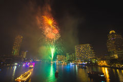 Firework at Chao Phraya River in countdown celebration party 2016 Royalty Free Stock Photography