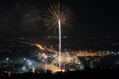 Firework at Chiangmai city Royalty Free Stock Photography