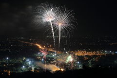Firework at Chiangmai city Stock Image