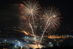 Firework at Chiangmai city Stock Photo