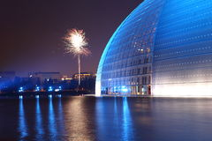 Firework and China opera hall Royalty Free Stock Images
