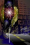Firework in the city. For new york eve Royalty Free Stock Photos