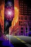 Firework in the city. New year evening firework in centre of the city Stock Photos