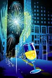 Firework in the city. Blue firework in the dark city Stock Photography
