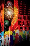 Firework in the city. Firework and lot of people in the city Royalty Free Stock Photos