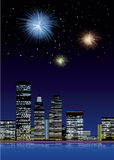 Firework on the city. Vector illustration Firework on the city Royalty Free Stock Photos