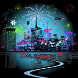 Firework in the city. Vector illustration Royalty Free Stock Image