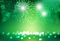 Firework on city landscape background for St Patrick day celebra. Green firework on city landscape background for St Patrick day celebration Royalty Free Stock Images