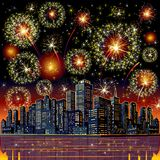 Firework City At Night. Vector. Image for your Design Stock Photography