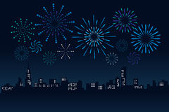 Firework and Cityscape Building in night scene Vector Illustration design Stock Photo
