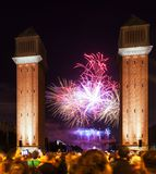 Firework at closing  of La Merce Festival Royalty Free Stock Images