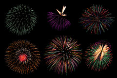Firework collection and Set of colorful fireworks light on the b Stock Photography