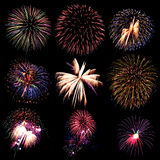 Firework collection and Set of colorful fireworks light on the b Royalty Free Stock Photos