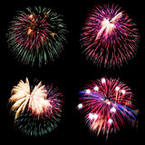 Firework collection and Set of colorful fireworks light on the b Royalty Free Stock Image