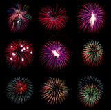 Firework collection and Set of colorful fireworks light on the b Stock Image