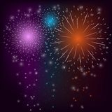 Firework Colorful Background. Firework sparkle bursts in night sky celebration background vector illustration Stock Photo