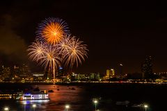 Firework colorful on night city view background for celebration festival royalty free stock image