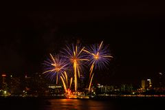 Firework colorful on night city view background for celebration. Royalty Free Stock Photo