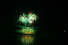 Firework Competition at sea, Brno, Czech Republic Royalty Free Stock Images