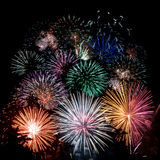 Firework composition. Colorfull firework composition on dark background Stock Image