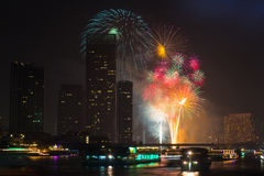 Firework countdown 2014 at chaopraya river view Bangkok Thailand Stock Photos