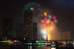 Firework countdown 2014 at chaopraya river view Bangkok Thailand Stock Photos