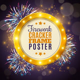 Firework Cracker Frame Colorful Background Poster. Shimmering golden round frame in festive firework crackers lights on dark background poster abstract vector Royalty Free Stock Photography
