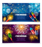 Firework Crackers 2 Festive Banners Set Stock Photos