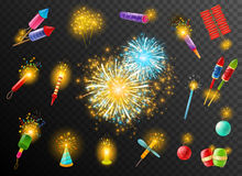 Firework Crackers Pyrotechnic Dark Background Poster. Festive pyrotechnic effects on dark background poster with bengal indian lights firecrackers rockets bombs Royalty Free Stock Photos