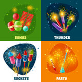 Firework Crackers Rockets 4 Icons Square Royalty Free Stock Photography