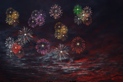 Firework. 3D Fireworks in different colors Royalty Free Stock Images