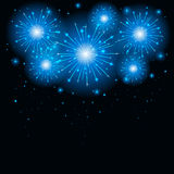Firework on dark background. Shiny blue firework on the dark sky, illustration Royalty Free Stock Image