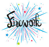 Firework design with text. Illustration Royalty Free Stock Image
