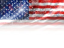 Firework design of USA flag on white background. With copy space Stock Images