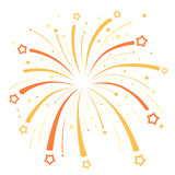 Firework design  with yellow and orange stars on Stock Photo