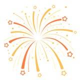 Firework design  with yellow and orange stars on Stock Photo