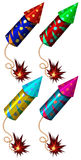 Firework in different colors. Illustration Stock Images