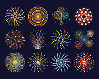 Firework different shapes colorful festive and bright carnival or birthday design for brochures poster, wrapping paper Royalty Free Stock Images